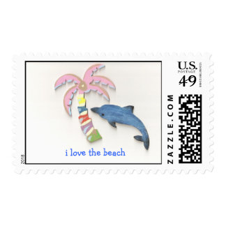 i love the beach dolphin stamp