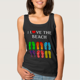 I Love The Beach, Flip Flops In The Sand Tank Top at Zazzle