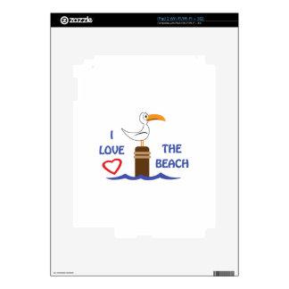 I LOVE THE BEACH iPad 2 DECALS