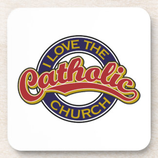 I love the Catholic Church Red on Blue Beverage Coaster