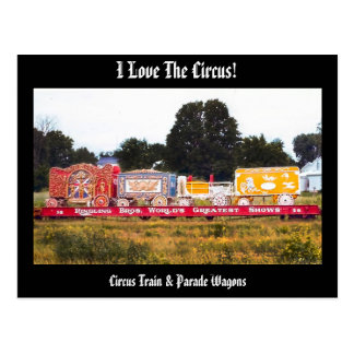 I Love The Circus! Circus Train Postcard