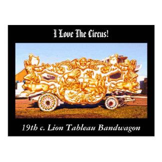 I Love the Circus! Lion Tableau Bandwagon Postcard