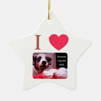 I Love The Dramatic Cupcake Dog Christmas Ornament