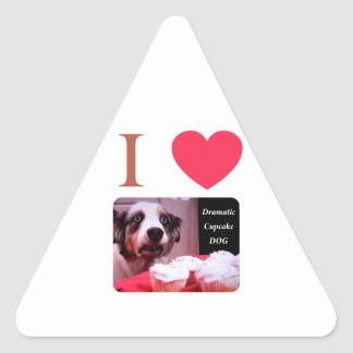 I Love The Dramatic Cupcake Dog Triangle Sticker