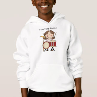 I Love The Drums Kids Music Gift Hoodie