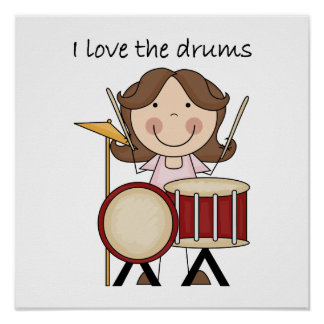 I Love The Drums Kids Music Gift Poster