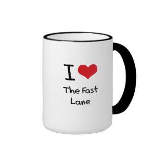 I Love The Fast Lane Ringer Coffee Mug