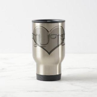 I Love The Flute Silver Heart 15 Oz Stainless Steel Travel Mug