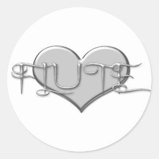 I Love The Flute Silver Heart Classic Round Sticker