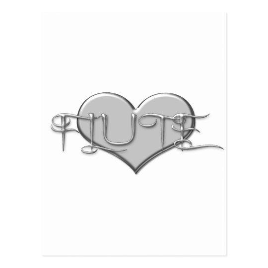 I Love The Flute Silver Heart Postcard