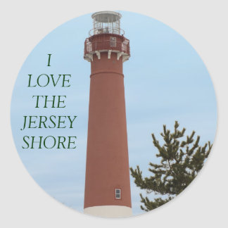 I Love the Jersey Shore Lighthouse Classic Round Sticker