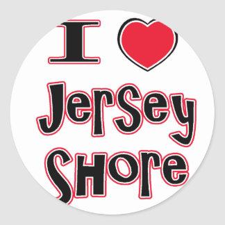 I love the jersey shore red classic round sticker