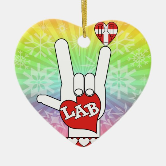 I LOVE THE LAB ASL SIGN CERAMIC ORNAMENT