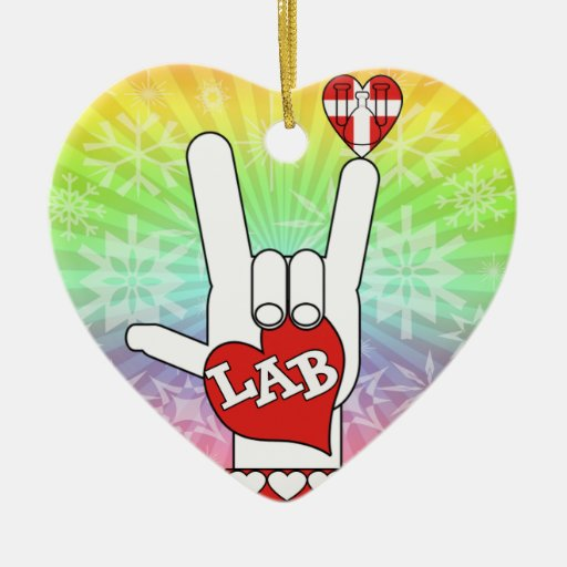I LOVE THE LAB ASL SIGN CHRISTMAS ORNAMENTS