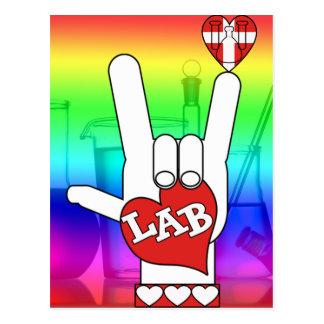 I LOVE THE LAB ASL SIGN POSTCARD