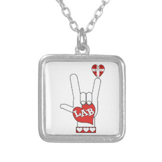 I LOVE THE LAB ASL SIGN SILVER PLATED NECKLACE