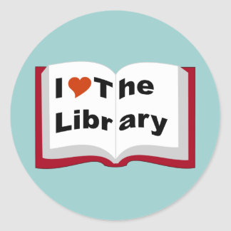 I Love The Library Classic Round Sticker