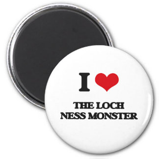 I love The Loch Ness Monster 2 Inch Round Magnet