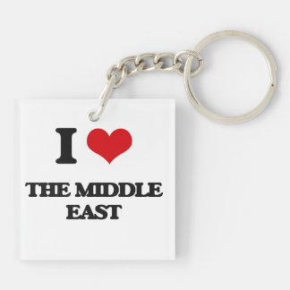 I Love The Middle East Double-Sided Square Acrylic Keychain