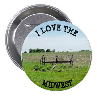 I Love the MIdwest  Farming Landscape Button