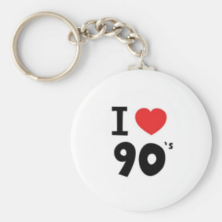 I love the nineties basic round button keychain