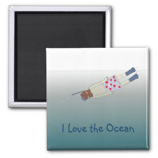 I Love the Ocean and Snorkeling Magnet