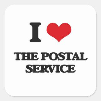 I Love The Postal Service Square Sticker