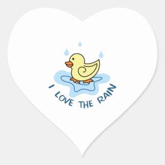 I LOVE THE RAIN HEART STICKER