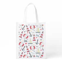 I Love The Sea Pattern Grocery Bag