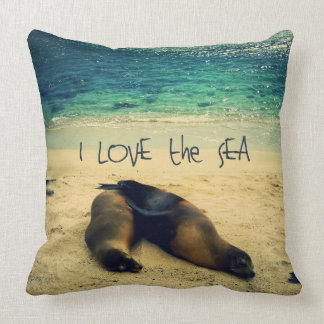 I love the Sea quote beach with sea lions Throw Pillow