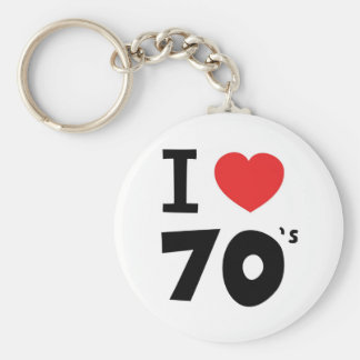 I love the seventies basic round button keychain
