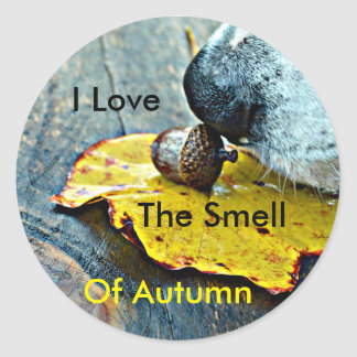 I Love The Smell Of Autumn Dog Sniffing Acorn Classic Round Sticker