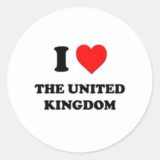 I love The United Kingdom Round Stickers