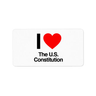 i love the us constitution address label