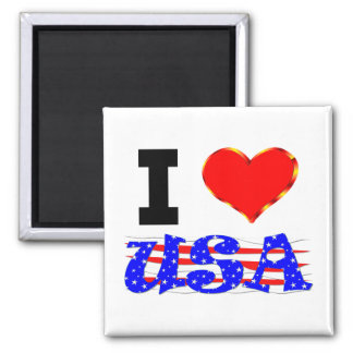 I Love The USA 2 Inch Square Magnet
