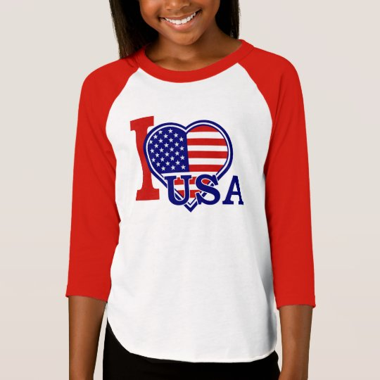 I love the USA American Heart Girls Raglan T-Shirt