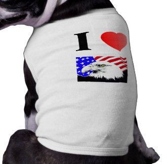 I Love the USA Eagle Flag Dog Ribbed T-shirts Dog T Shirt