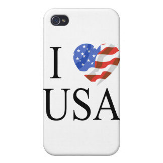 I Love the USA Flag Heart iPhone 4/4S Cover