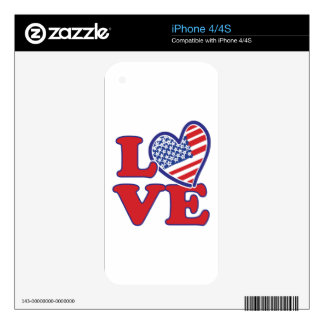 I Love the USA Heart Decals For iPhone 4