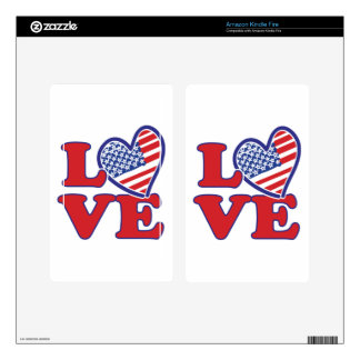 I Love the USA Heart Decals For Kindle Fire
