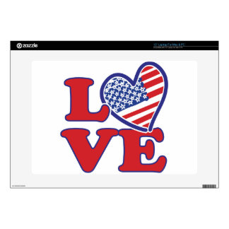 I Love the USA Heart Laptop Decals