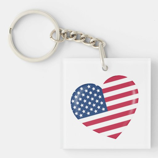 I Love the USA - Heart of Patriotic American Keychain