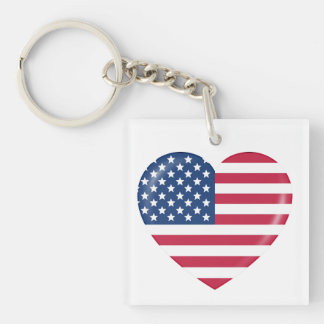 I Love the USA - Heart of Patriotic American Single-Sided Square Acrylic Keychain
