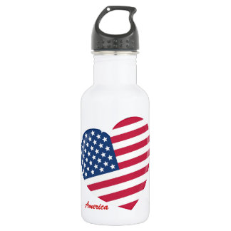 I Love the USA - Heart of Patriotic American Water Bottle