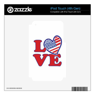 I Love the USA Heart Skin For iPod Touch 4G
