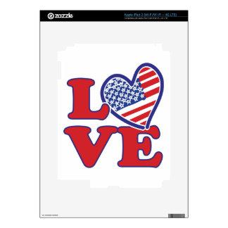 I Love the USA Heart Skins For iPad 3