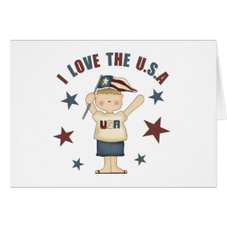 I Love The USA Kids 4th Of July Greeting Card