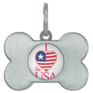 I Love The USA Pet ID Tag