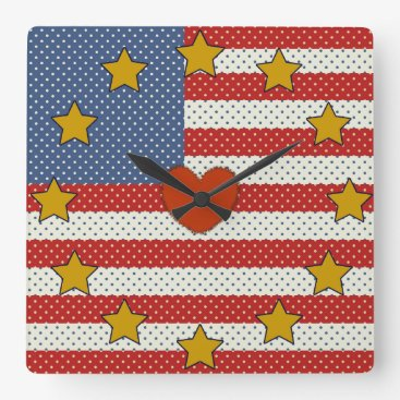 USA Themed I Love The USA - Red, White, Blue Polka-Dot Flag Square Wall Clock