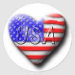 I love The USA Round Stickers